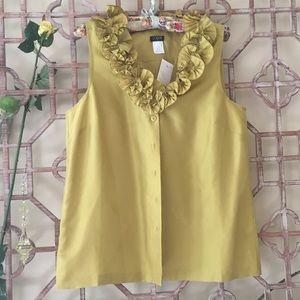 NWT J Crew green silk frilly sleeveless blouse